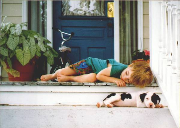 "Submitted by Luanne:  ""Chris Belew, my son, and the neighbor's new puppy resting on our porch after playing."""