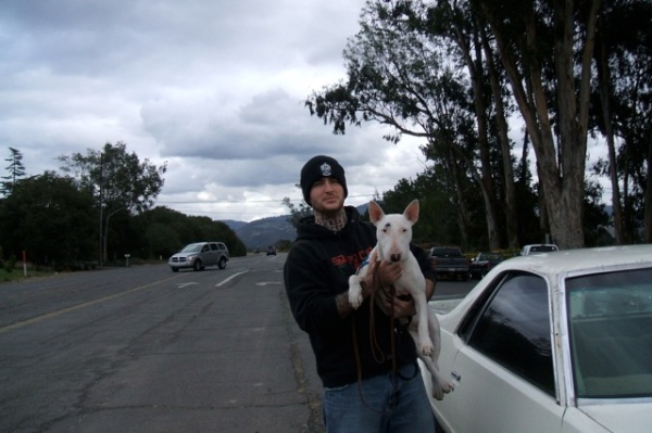 "Submitted by Jan:  ""Dan and his rescue dog 'Hula' - Napa, CA"""