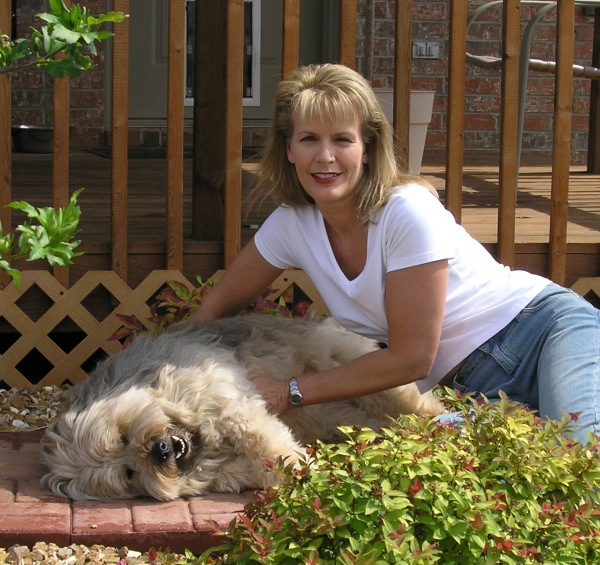 "Submitted by Debbie:  ""Debbie and rescue dog, Zoe (smiling), in Springfield, MO"""