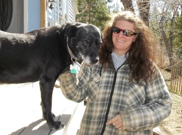 "Submitted by Tonya:  ""This is the lady that adopted Shadow from PAWS. The dog with the urinary disease that wasnt treated. This is Kathleen and Shadow."""
