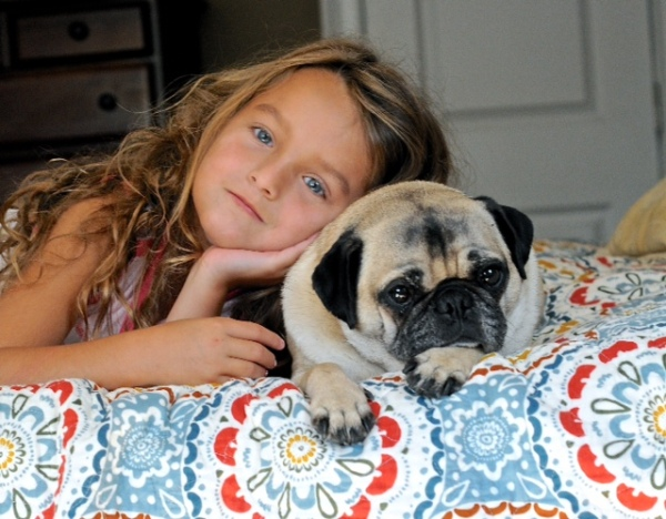 "Submitted by Martha:  ""This is 5 year old Molly with her Pug, Louie. Louie came to us from an Ohio puppy mill. He had a difficult and sad life but now lives a very happy life in Massachusetts."""