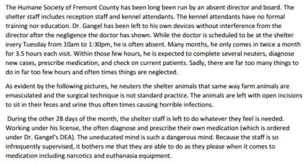 Excerpt from volunteers' complaint against the HS of Fremont Co (click to enlarge)