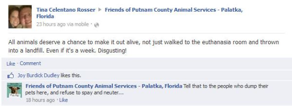 "Facebook posting in which a member of the public advocates for the lives of pets at the Putnam Co pound and gets swatted down by their ""Friends""."