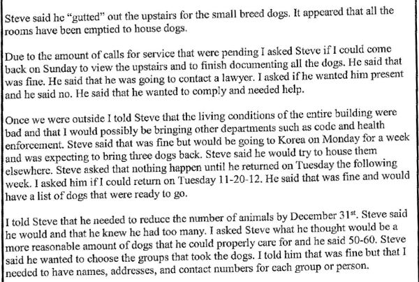 Portion of Forks PD report, November 2012