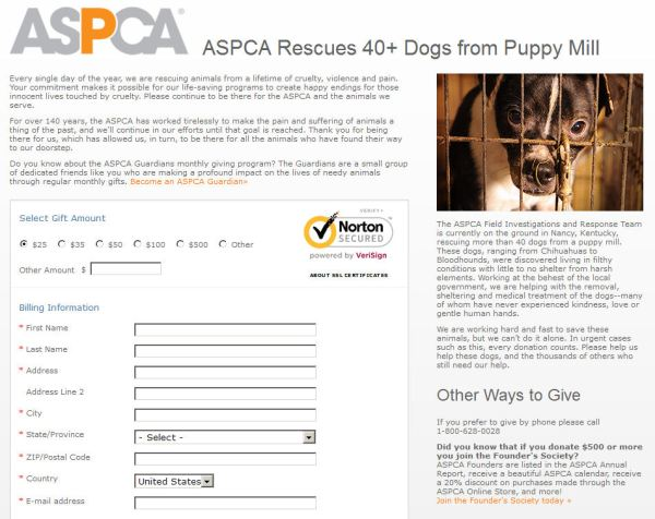 Screengrab from the ASPCA website