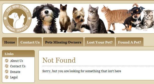 Screengrab from FortBendCountyPets.com