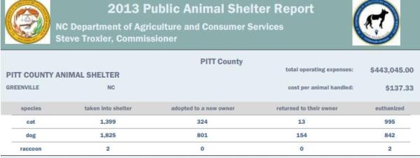 The portion of the NC annual shelter report for 2013 showing Pitt Co.