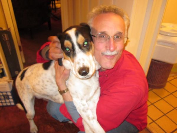 """My dear friend Dennis with the love of his life, Augie. Sebastopol, CA""  (Photo submitted by Anne D.)"