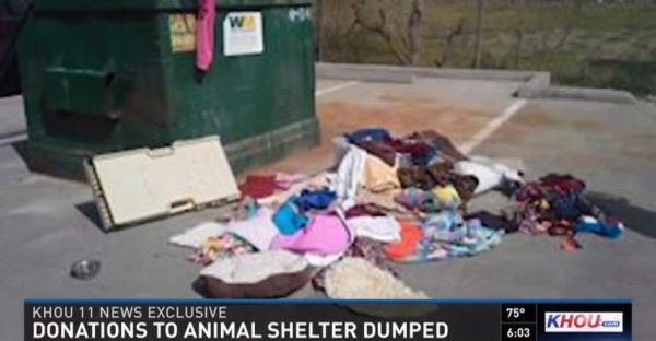 Donations from the public thrown away by staff at the Montgomery Co pound in Texas, as shown on the KHOU website.