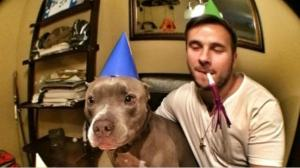 Burberry celebrating his 5th birthday with his person and some bacon, as shown on the NBC San Diego website.
