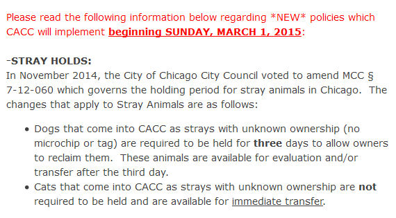 Portion of the Chicago ACC newsletter that was recently sent to rescue groups.
