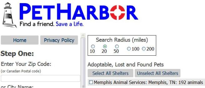 Screengrab from PetHarbor showing 192 animals listed by the Memphis pound on September 15, 2015.