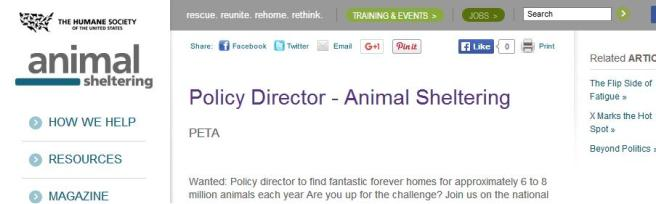 Portion of a job listing on an HSUS website.